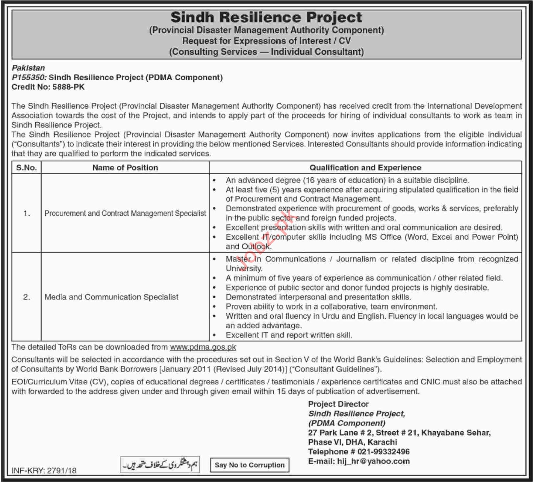 Sindh Resilience Project PDMA Component Jobs 2018