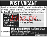 Headquarter Special Services Group Chawkidars Jobs