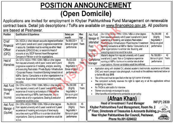 Finance Department KPK Jobs 2018 for Chief Financial Officer