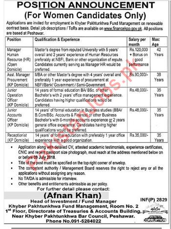 Khyber Pakhtunkhwa Fund Management Finance Department Jobs