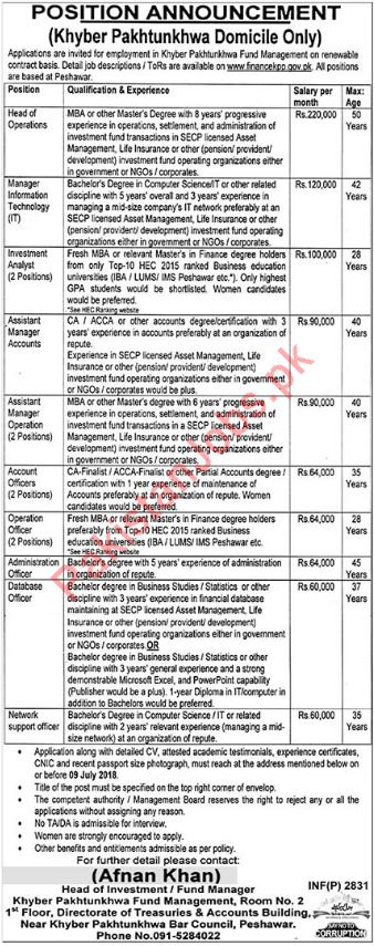 KPK Fund Management Jobs 2018 for Managers & Accountant