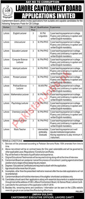 Cantonment Board CB College Lahore Jobs 2018 for Lecturers