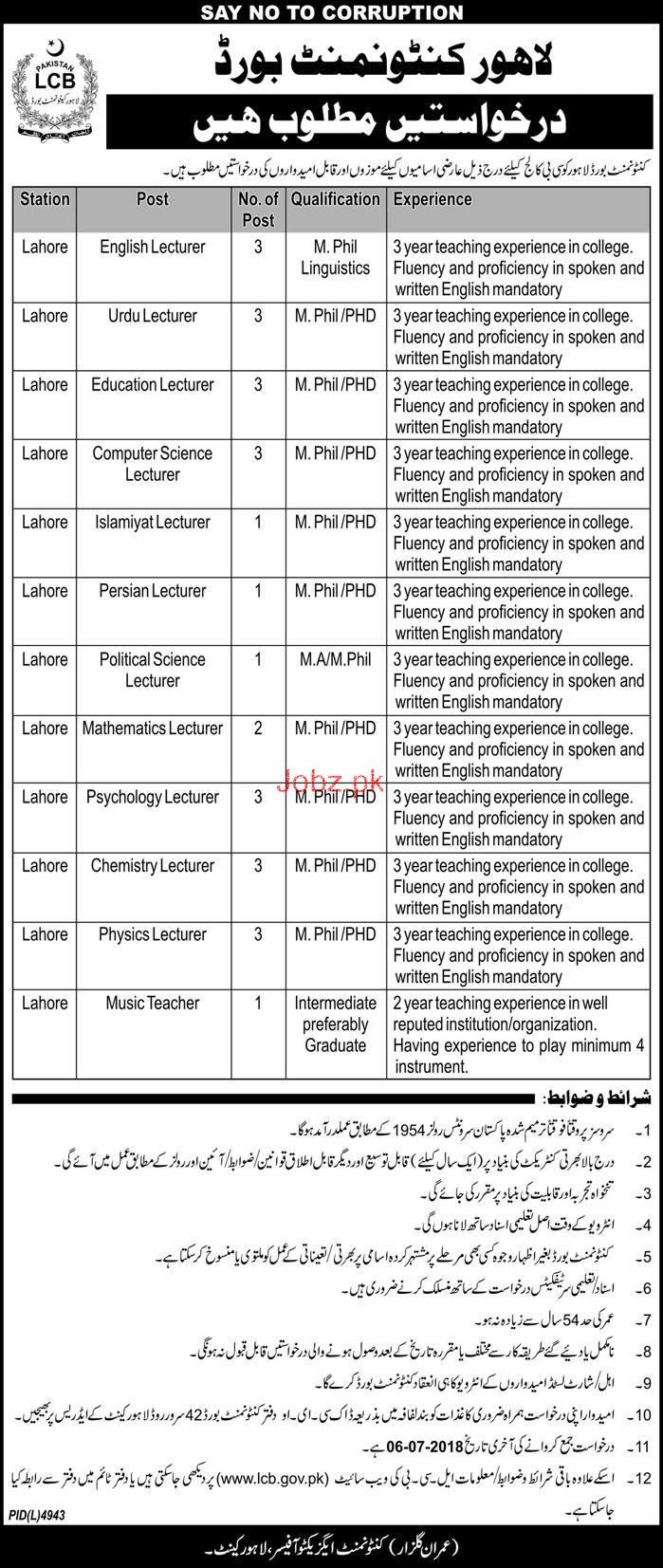 Cantonment Board  CB College Lecturers Jobs