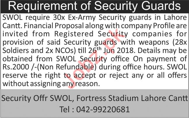 Pak Army Soldiers Welfare Organization SWOL Lahore Jobs