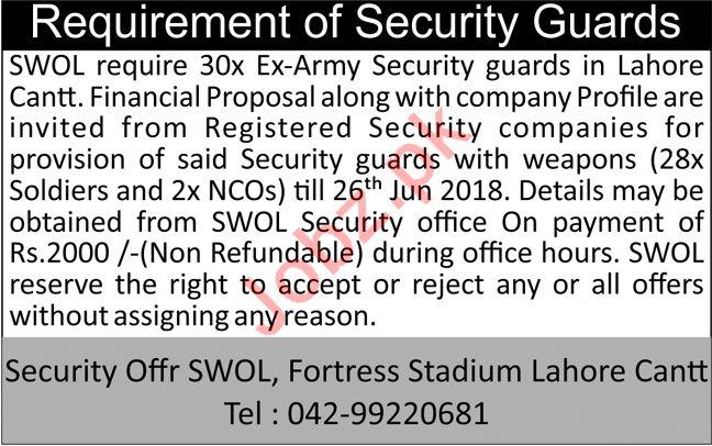 Soldiers Welfare Organization SWOL Lahore Jobs 2018