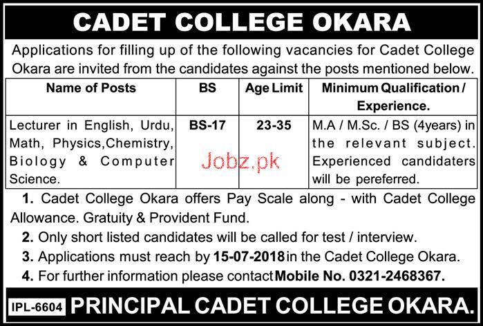 Cadet College Okara Teaching Jobs