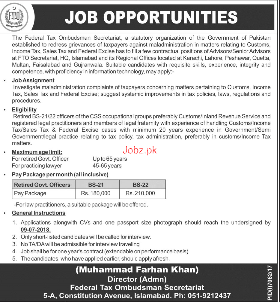The Federal Tax Ombudsman Secretariat Jobs