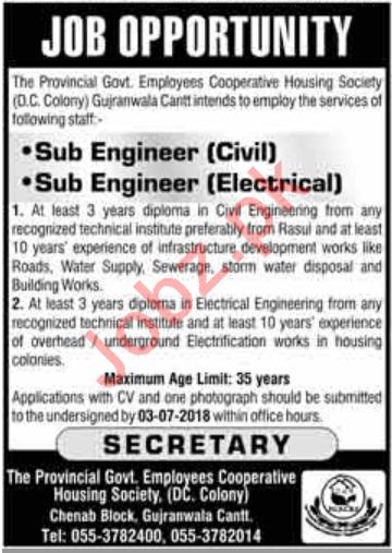 Sub Engineer Civil & Electrical Jobs 2018 in Gujranwala