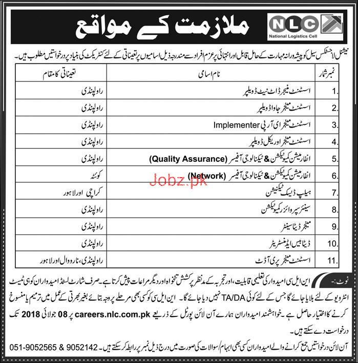 National Logistics Cell NLC  Management JObs 2018