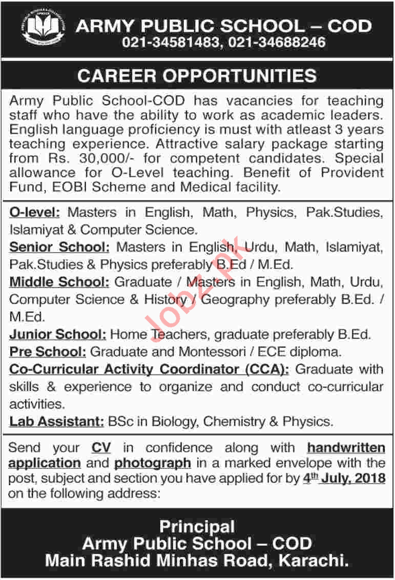 Army Public School APS Karachi Jobs 2018 for Teachers