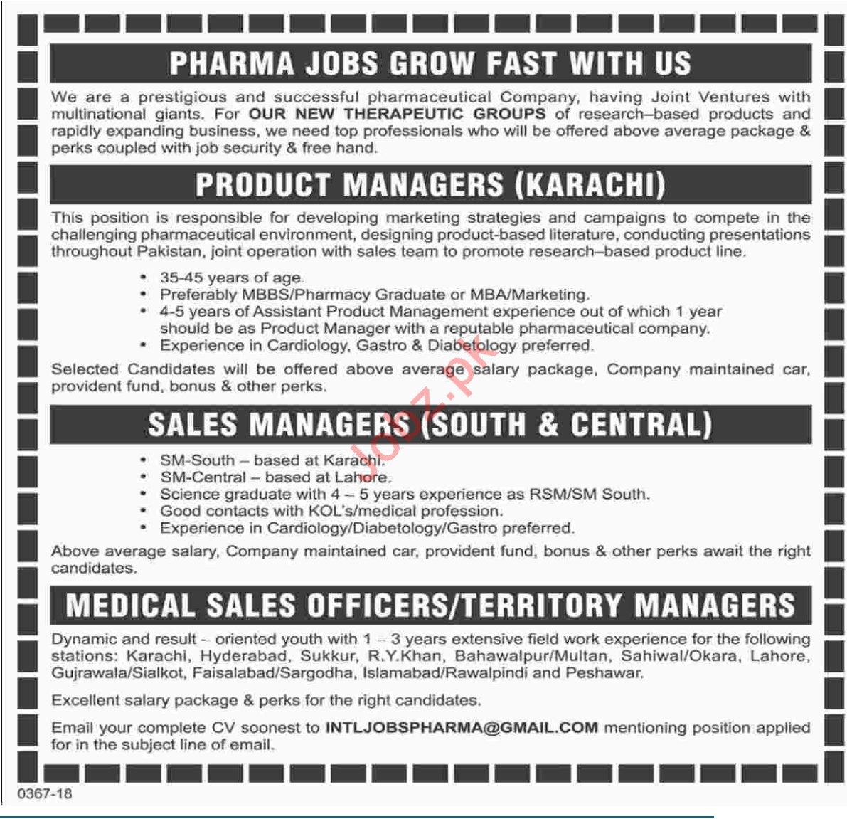 Product Manager At Pharma Industry 2019 Job Advertisement
