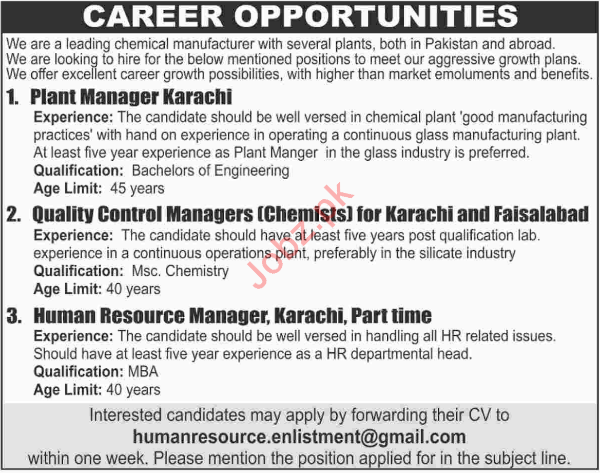 Managers for Chemical Manufacturer