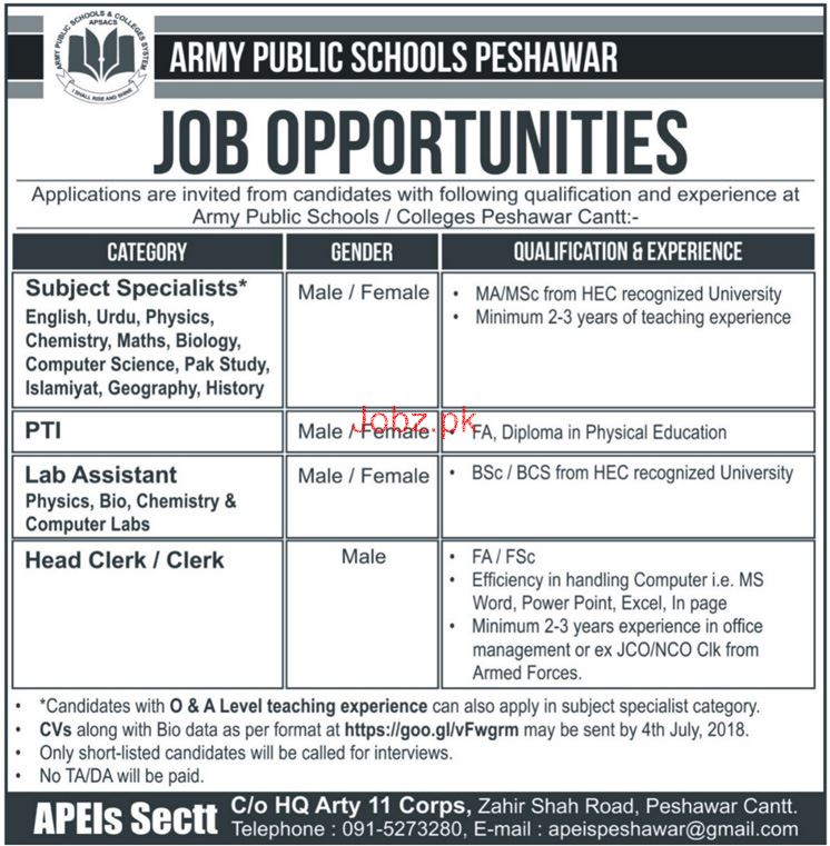 Army Public School Peshawar Subject Specialists Jobs