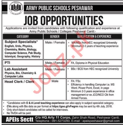 Army Public School APS Peshawar Jobs 2018 for Teachers