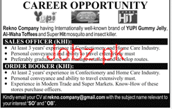 Order Bookers and Sales Officers Job Opportunity
