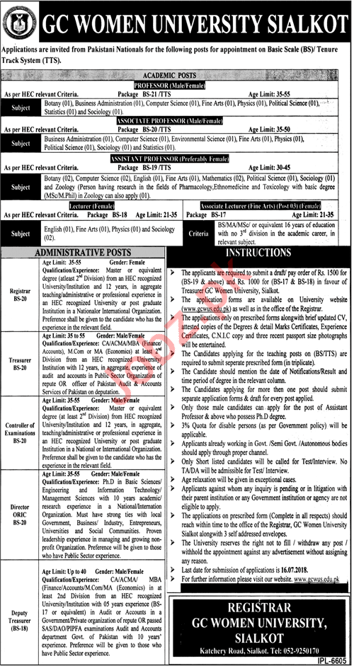Jobs at GC Women University Sialkot