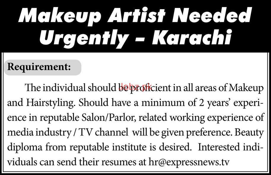 Makeup Artists Job In Express Tv 2019 Job Advertisement Pakistan