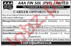 Internal Auditor, Accountant & Marketing Officer Jobs 2018