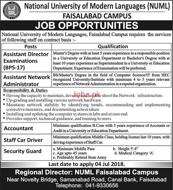 National University of Modern Languages NUML Fsd Jobs