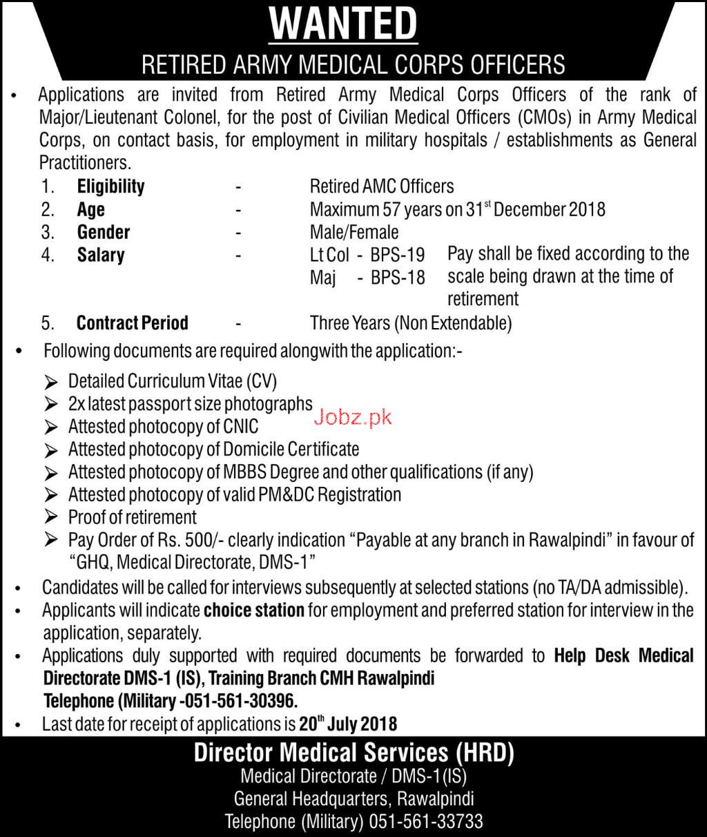 General Headquarter GHQ Retired Army Medical Officers Jobs