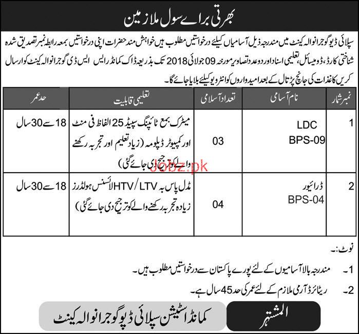 Supply Depot Gujranwala LDC and LTV / HTV Drivers Jobs