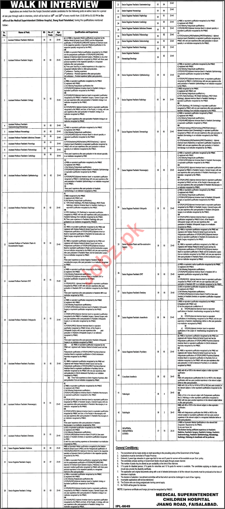 Children Hospital Faisalabad Jobs 2018 for Professors