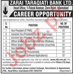 ZTBL Islamabad Jobs 2018 for Vice President