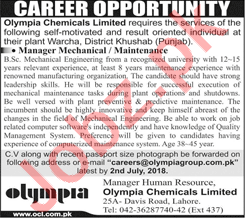 Jobs at Olympia Chemical Limited OCL