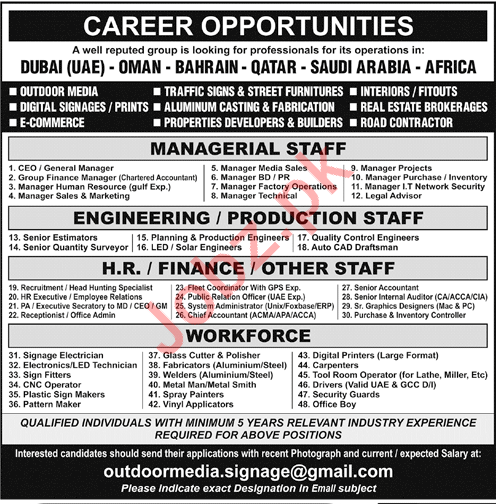 Managerial and Engineering Staff for Gulf countries