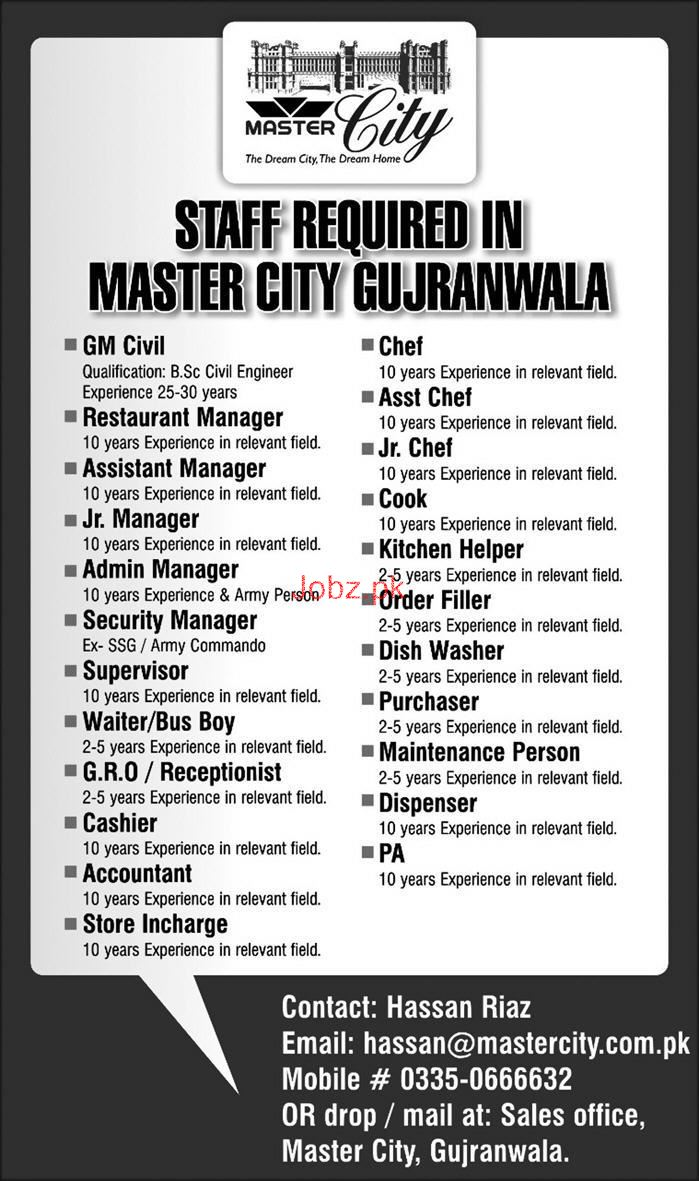 General Manager Civil, Restaurant Manager Job in Master City