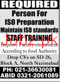 ISO Preparation Maintain ISO Standard Staff Training Jobs
