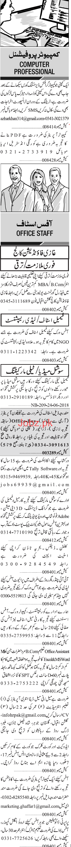 Sunday Jang Classified Computer Professional Jobs 2019 Job