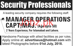 Manager Operations Job in Leading Security Company