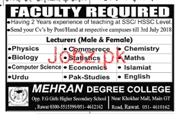 Male / Female Lecturers Job in Mehran Degree College