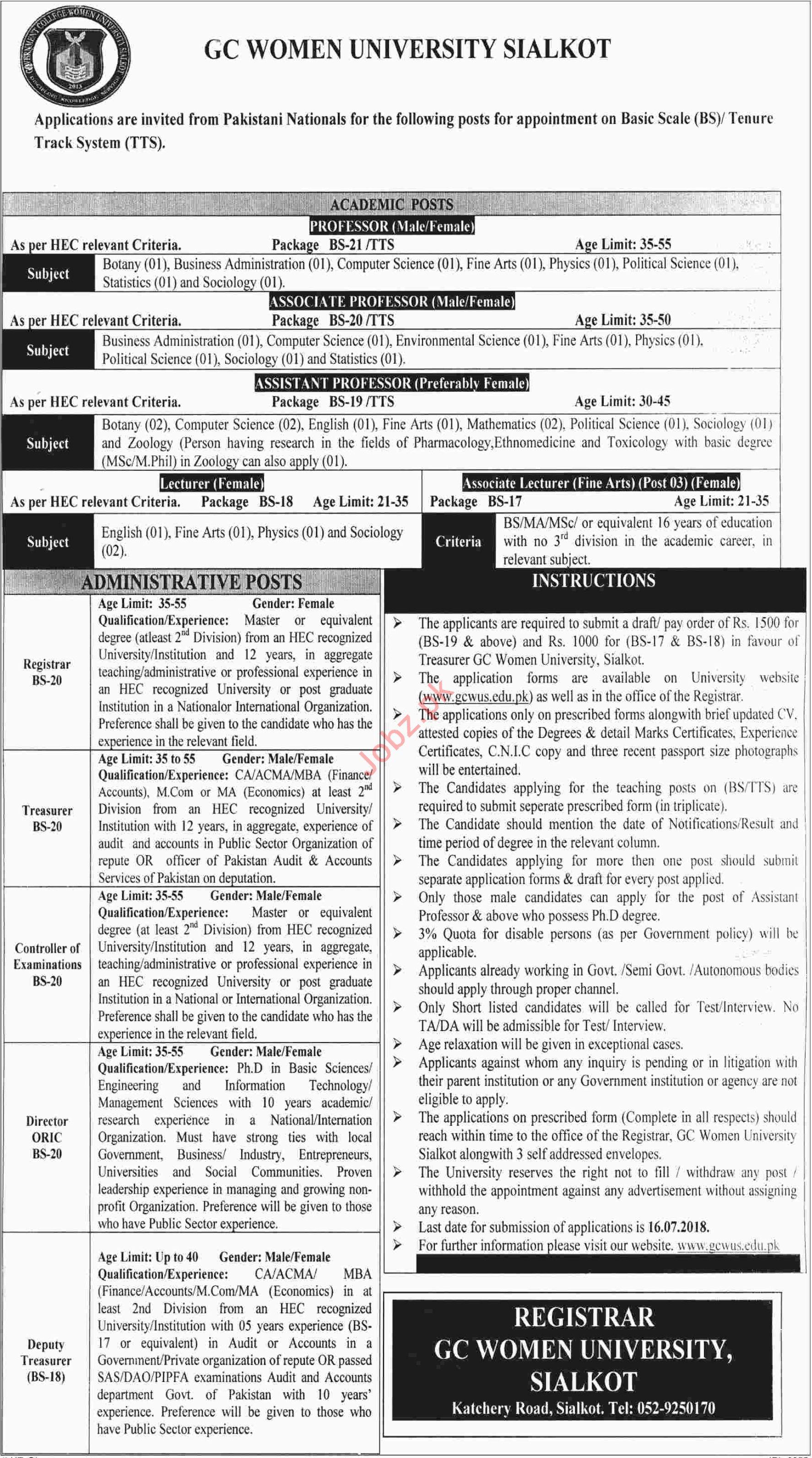 GC Women University Sialkot Jobs for Professor & Registrar
