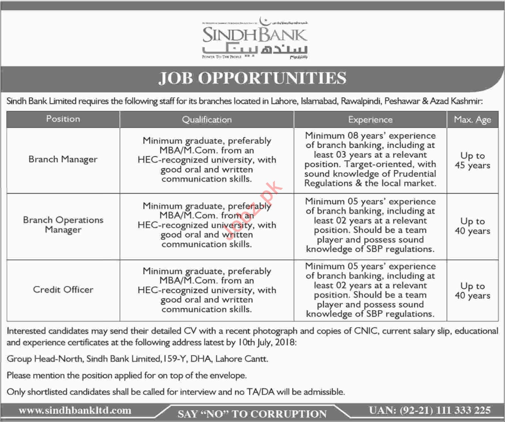 Sindh Bank Limited Jobs 2018 for Managers & Credit Officers