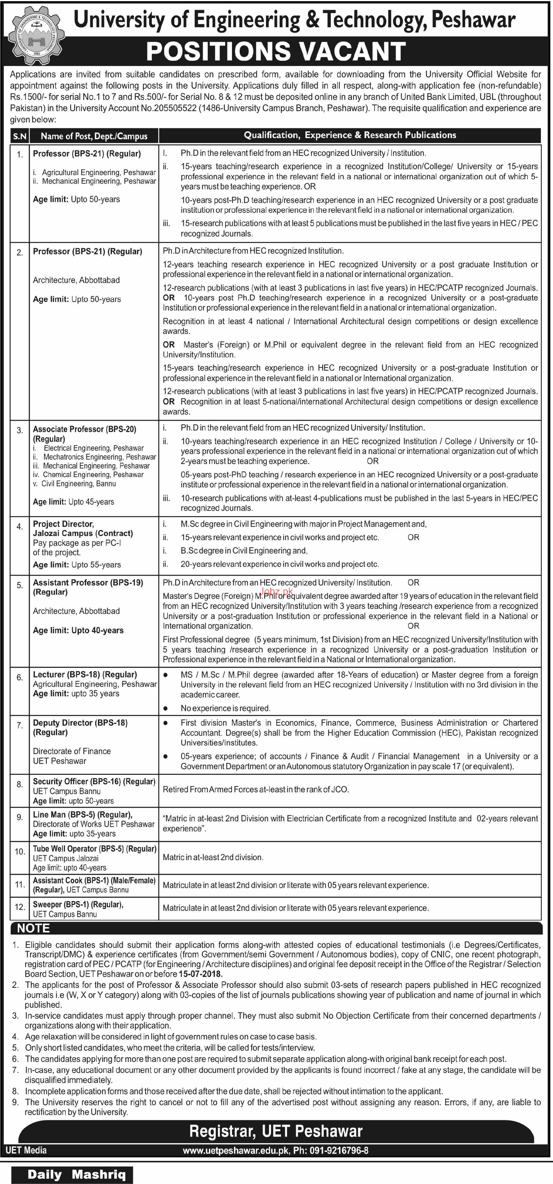 University of Engineering and Technology UET Peshawar Jobs