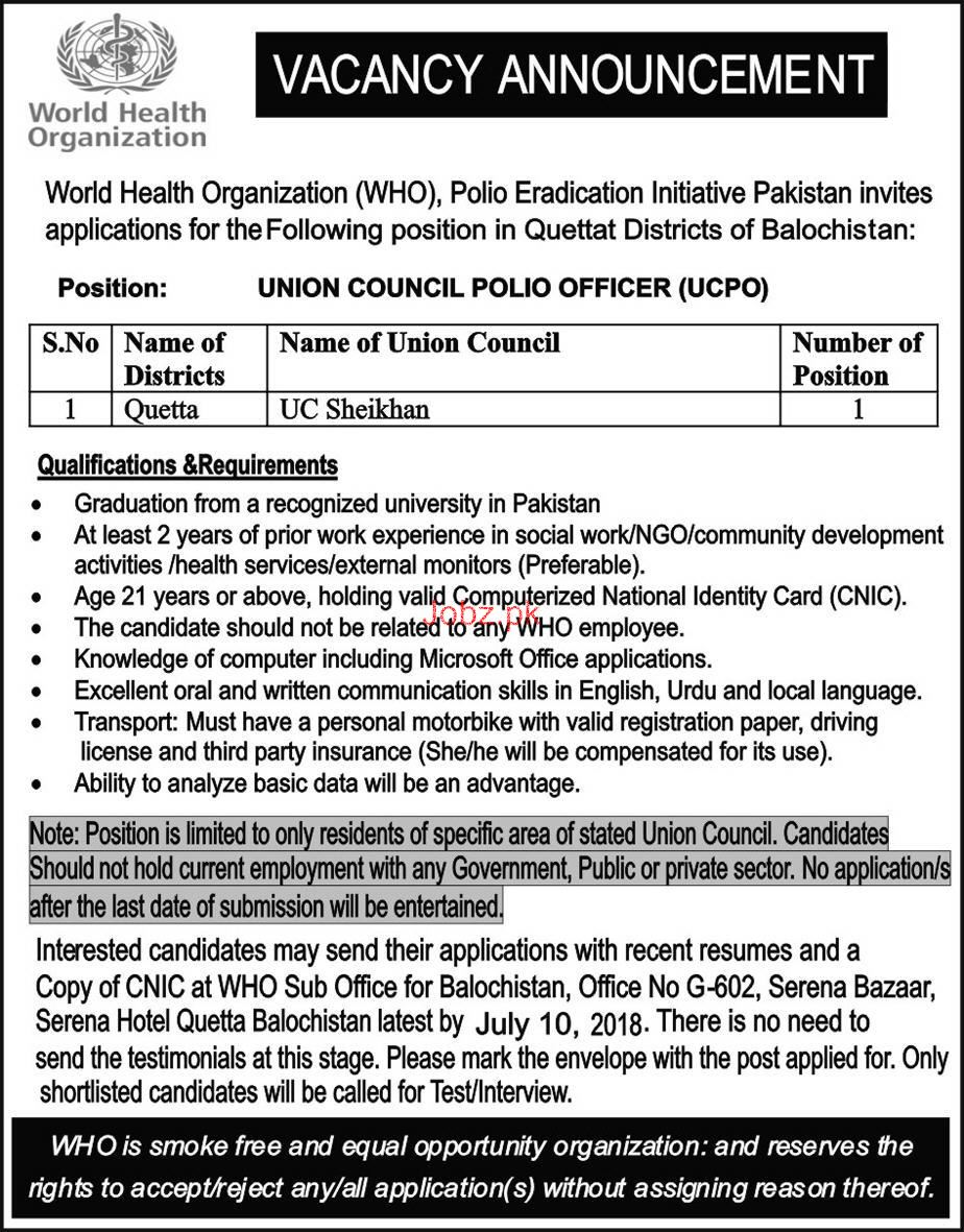 World Health Organization WHO UCPO Job 2018