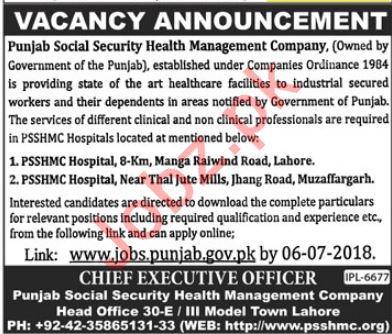 Punjab Social Security Health Management Company Jobs 2018