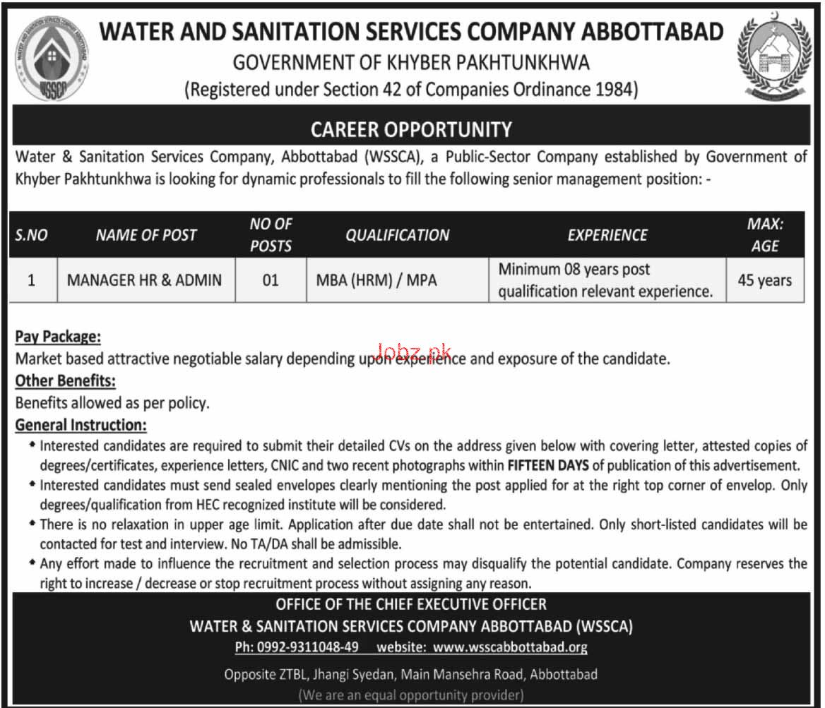 Water and Sanitation Services Company Abbottabd Jobs 2018