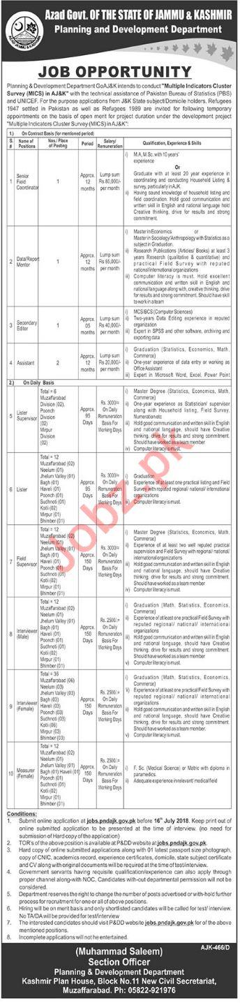 Planning & Development Department AJK Jobs 2018