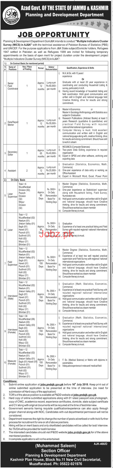 Planning & Development Department Government of AJK Jobs