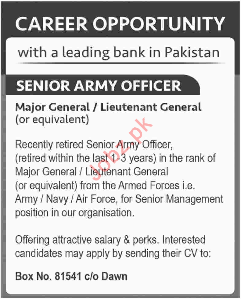 Senior Army Officer Jobs 2018 in Bank Karachi