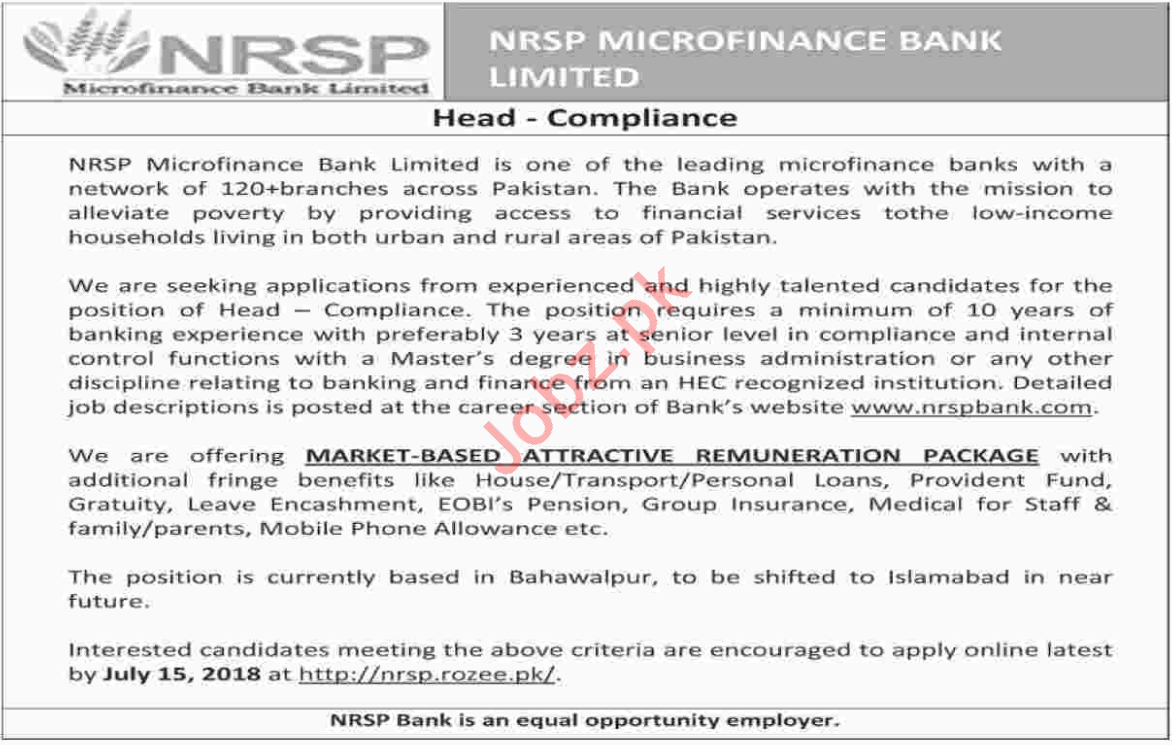 NRSP Microfinance Bank Limited Islamabad Jobs 2018