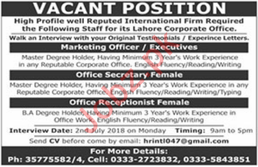 Marketing Officer, Office Secretary & Receptionist Jobs 2018