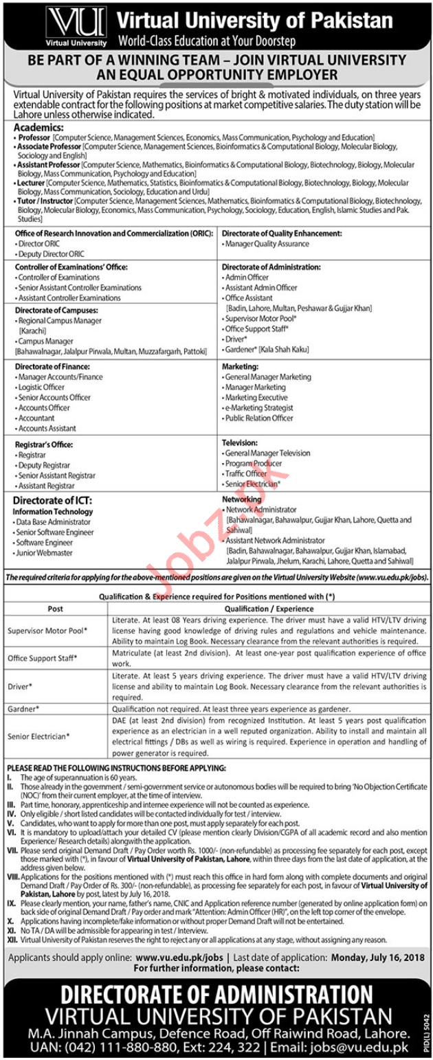 Virtual University VU Lahore Assistant Director Jobs 2018