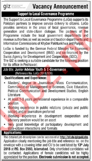 GIZ Pakistan Islamabad Junior Adviser Jobs 2018