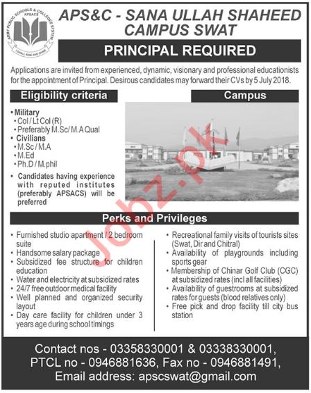 APS&C Sana Ullah Shaheed Campus Swat Principal Jobs 2018