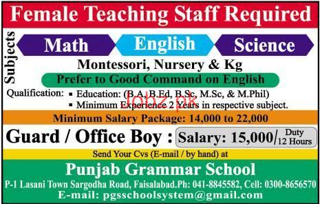 Punjab Grammar School Teaching Jobs
