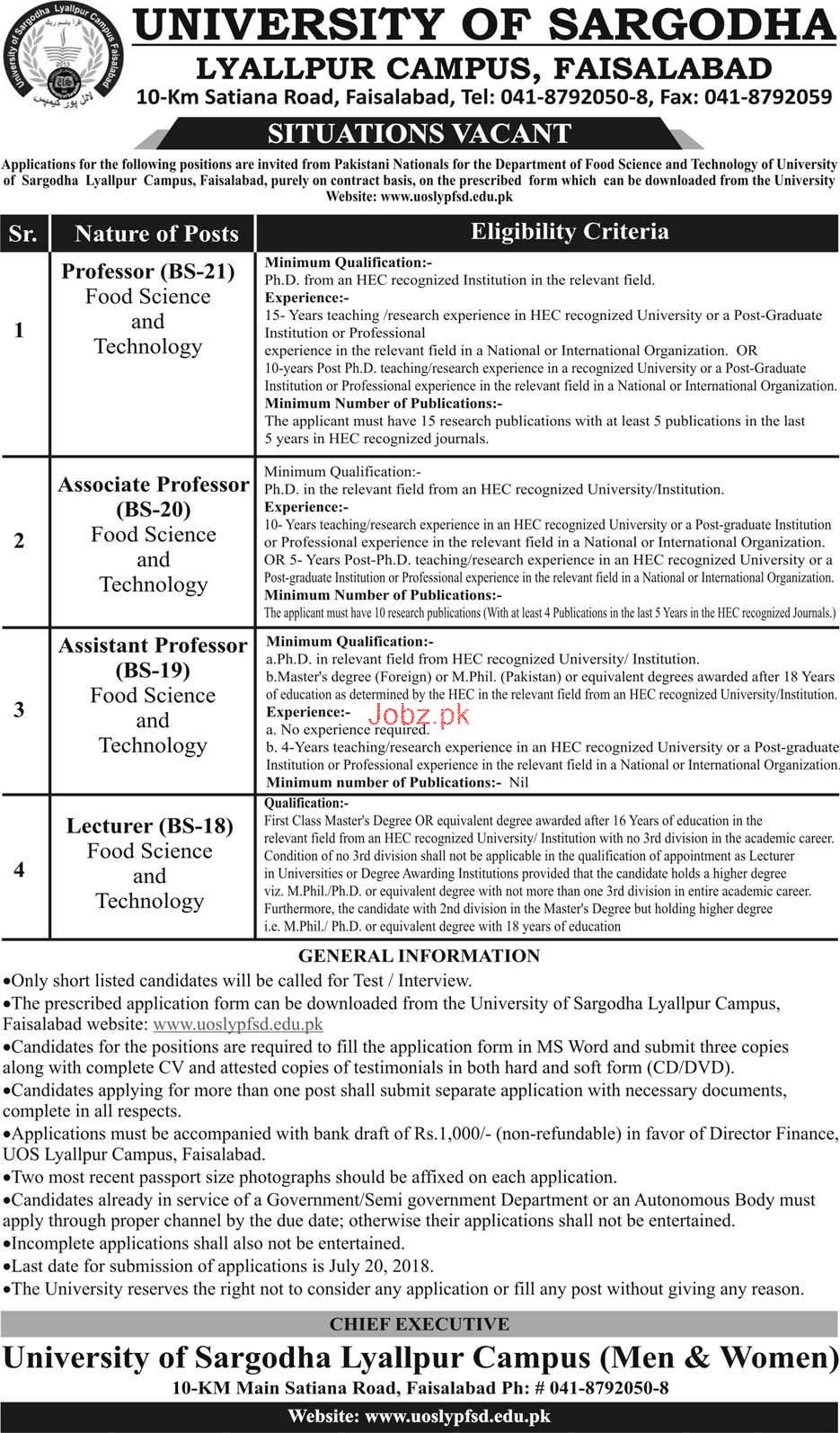 University of Sargodha UOS Teaching Jobs